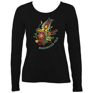 Manchester Folk Ladies Long Sleeve Shirt - Long Sleeved Shirt - Black - Mudchutney