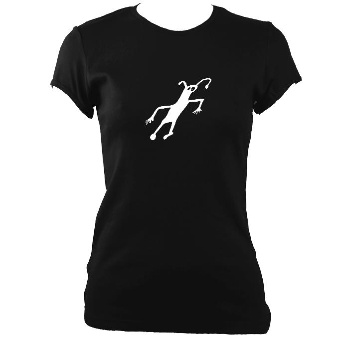 update alt-text with template Caveman Painting Ladies Fitted T-shirt - T-shirt - Black - Mudchutney