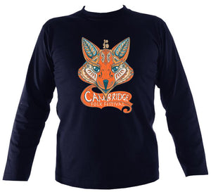Cambridge Folk Festival - Design 7 - Mens Long Sleeve Shirt - Long Sleeved Shirt - Navy - Mudchutney