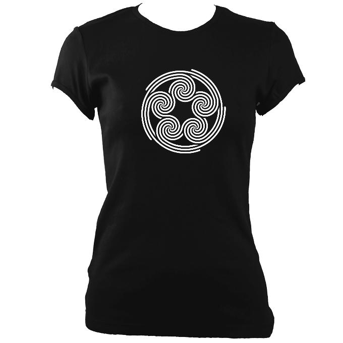 Celtic Five Spirals Ladies Fitted T-shirt