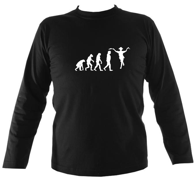 Evolution of Morris Dancers Mens Long Sleeve Shirt - Long Sleeved Shirt - Black - Mudchutney