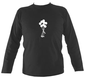 Banksy Style Concertina Mens Long Sleeve Shirt - Long Sleeved Shirt - Charcoal - Mudchutney