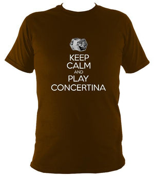 Keep Calm & Play English Concertina T-shirt - T-shirt - Dark Chocolate - Mudchutney