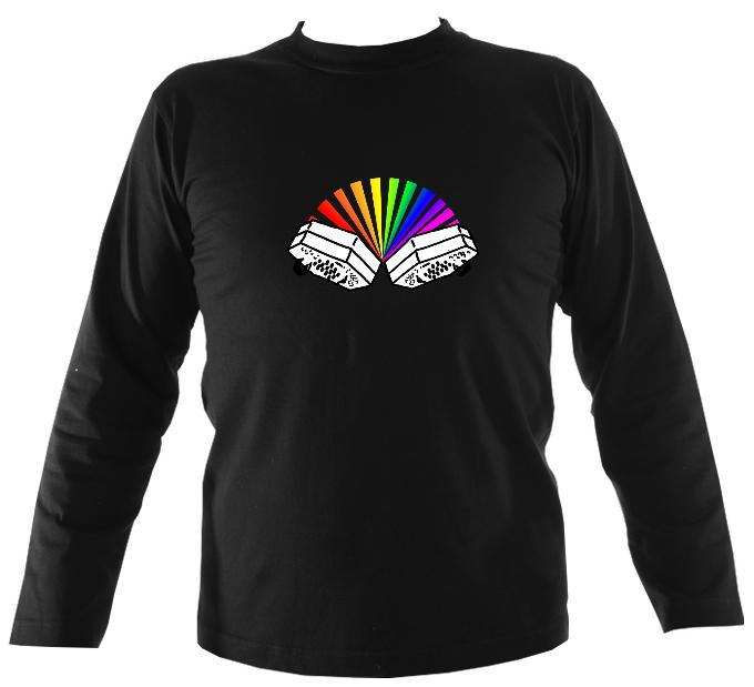 Rainbow Concertina Mens Long Sleeve Shirt - Long Sleeved Shirt - Black - Mudchutney
