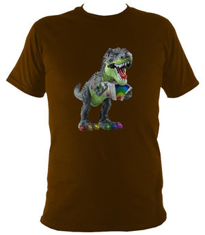 Rainbow Dinosaur Playing Accordion T-shirt - T-shirt - Dark Chocolate - Mudchutney