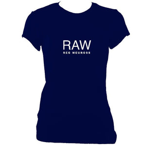"update alt-text with template Reg Meuross ""Raw"" Ladies Fitted T-shirt - T-shirt - Navy - Mudchutney"