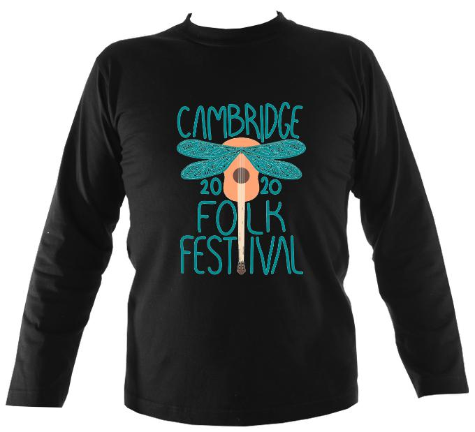Cambridge Folk Festival - Design 1 - Mens Long Sleeve Shirt - Long Sleeved Shirt - Black - Mudchutney