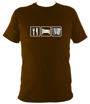 Eat, Sleep, Play Accordion T-shirt - T-shirt - Dark Chocolate - Mudchutney