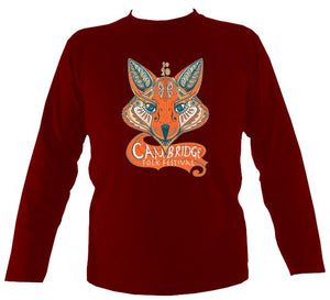 Cambridge Folk Festival - Design 7 - Mens Long Sleeve Shirt - Long Sleeved Shirt - Cardinal red - Mudchutney