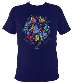 Cambridge Folk Festival - Design 9 - T-shirt - T-shirt - Navy - Mudchutney
