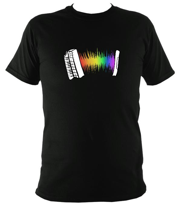 Rainbow Sound Wave Piano Accordion T-shirt - T-shirt - Black - Mudchutney