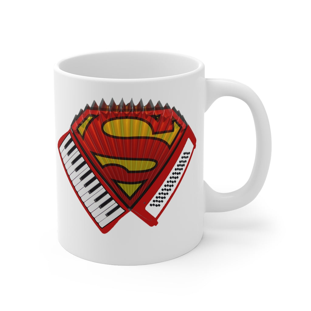 Accordion Superman Ceramic Mug | Folk Music Superman Mug | Piano Accordion Gift