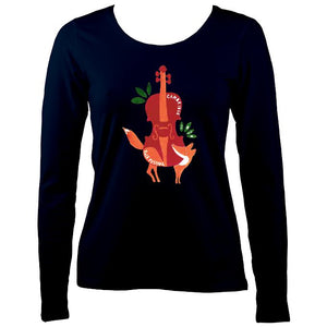 Cambridge Folk Festival - Design 3 - Women's Long Sleeve Shirt - Long Sleeved Shirt - Navy - Mudchutney