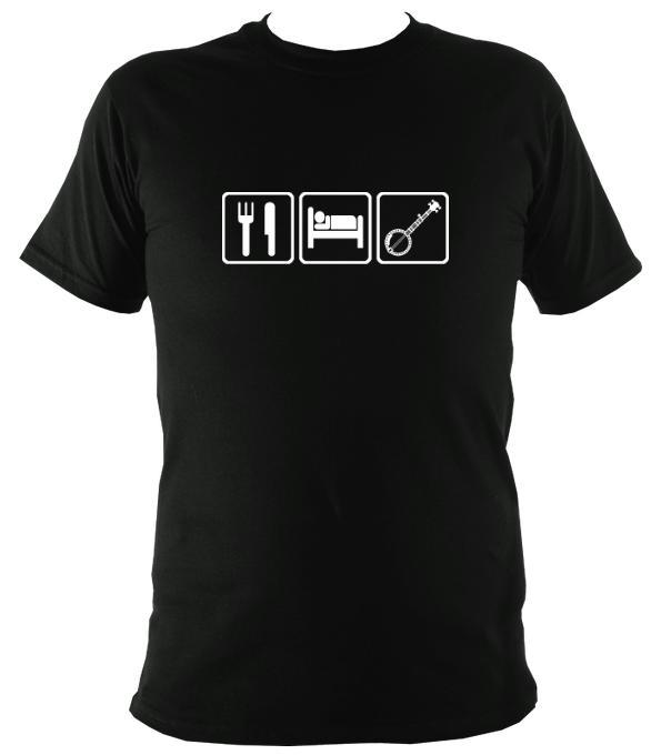 Eat, Sleep, Play Banjo T-shirt - T-shirt - Black - Mudchutney