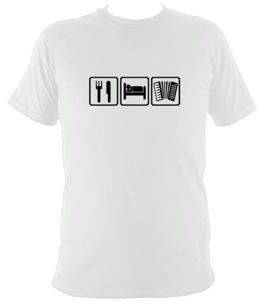 Eat, Sleep, Play Accordion T-shirt - T-shirt - White - Mudchutney