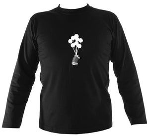 Banksy Style Concertina Mens Long Sleeve Shirt - Long Sleeved Shirt - Black - Mudchutney