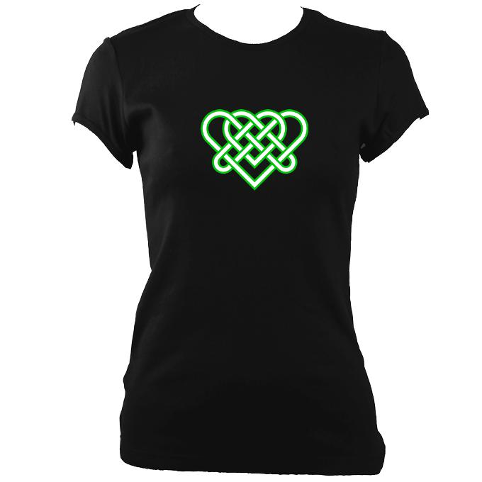 update alt-text with template Celtic Triple Heart Ladies Fitted T-Shirt - T-shirt - Black - Mudchutney
