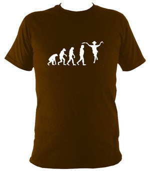 Evolution of Morris Dancers T-shirt - T-shirt - Dark Chocolate - Mudchutney