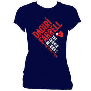 update alt-text with template Daoiri Farrell Corner Session Boxing Glove Women's Fitted T-shirt - T-shirt - Navy - Mudchutney