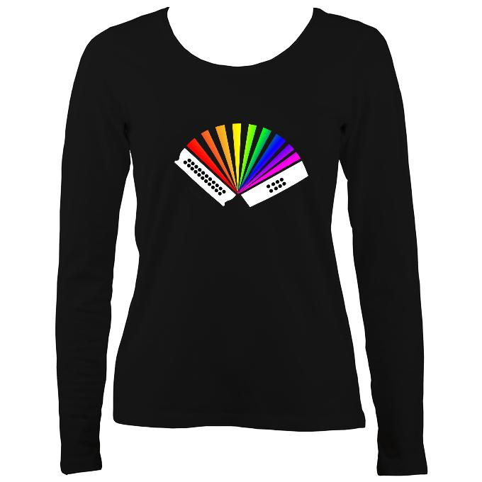 Rainbow Melodeon Ladies Long Sleeve Shirt - Long Sleeved Shirt - Black - Mudchutney