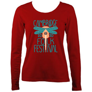 Cambridge Folk Festival - Design 1 - Women's Long Sleeve Shirt - Long Sleeved Shirt - Red - Mudchutney