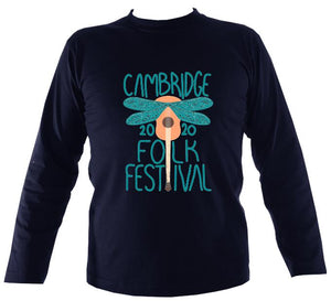 Cambridge Folk Festival - Design 1 - Mens Long Sleeve Shirt - Long Sleeved Shirt - Navy - Mudchutney