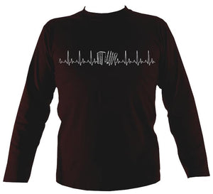 Heartbeat Melodeon Mens Long Sleeve Shirt - Long Sleeved Shirt - Dark chocolate - Mudchutney