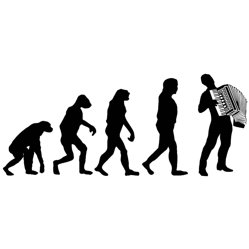 Evolution of Accordion Players T-shirt - T-shirt - - Mudchutney