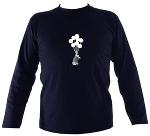 Banksy Style Concertina Mens Long Sleeve Shirt - Long Sleeved Shirt - Navy - Mudchutney