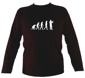 Evolution of Flute Players Mens Long Sleeve Shirt - Long Sleeved Shirt - Dark chocolate - Mudchutney