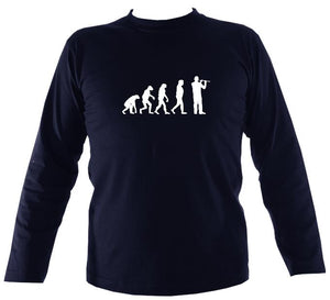 Evolution of Flute Players Mens Long Sleeve Shirt - Long Sleeved Shirt - Navy - Mudchutney
