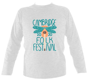 Cambridge Folk Festival - Design 1 - Mens Long Sleeve Shirt - Long Sleeved Shirt - Ash - Mudchutney