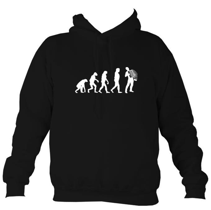 Evolution of Accordion Players Hoodie-Hoodie-Jet black-Mudchutney