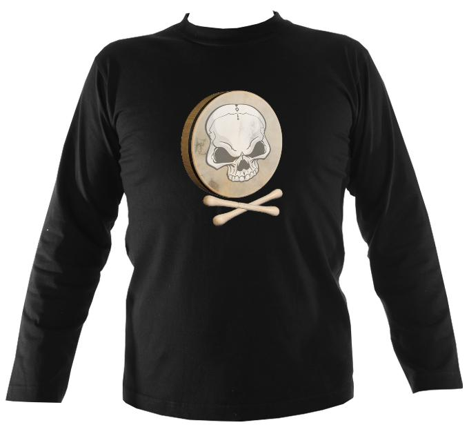 Bodhran Skull and Crosstippers Long Sleeve Shirt