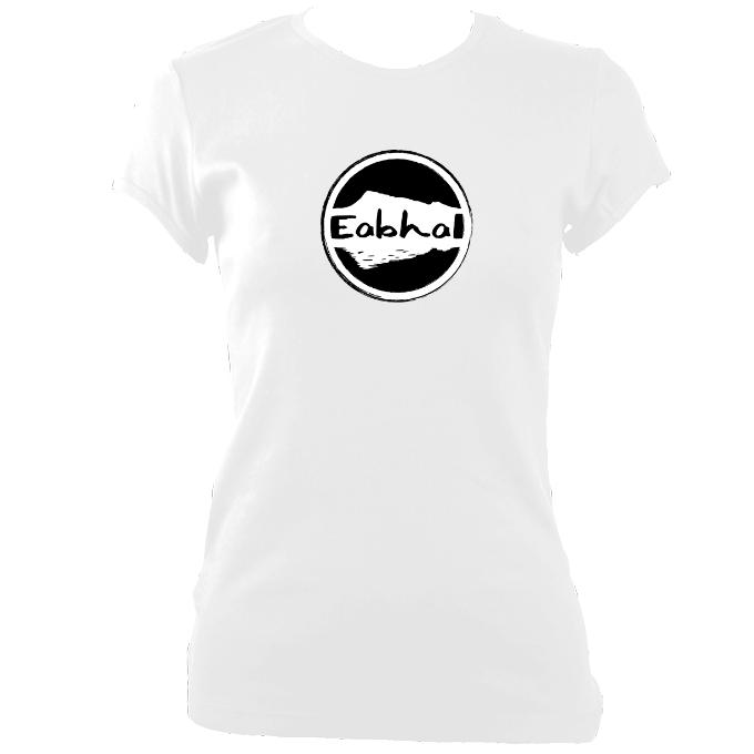 update alt-text with template Eabhal Large Logo Ladies Fitted T-shirt - T-shirt - White - Mudchutney