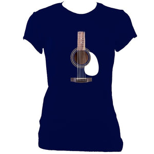 update alt-text with template Guitar Strings and Neck Ladies Fitted T-shirt - T-shirt - Navy - Mudchutney