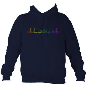 Heartbeat Concertina in Rainbow Colours Hoodie-Hoodie-Oxford navy-Mudchutney