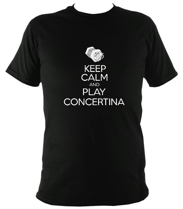 Keep Calm & Play Anglo Concertina T-shirt - T-shirt - Black - Mudchutney