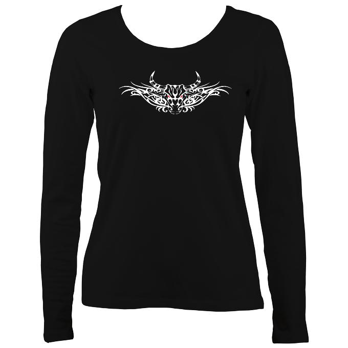 Tribal Bull Ladies Long Sleeve Shirt