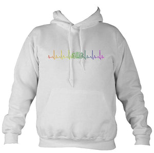 Heartbeat Concertina in Rainbow Colours Hoodie-Hoodie-Ash-Mudchutney