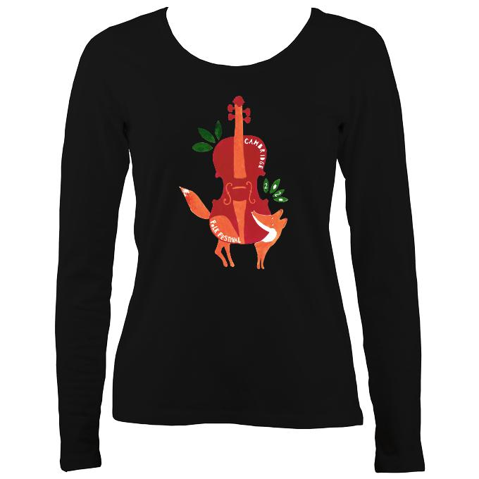 Cambridge Folk Festival - Design 3 - Women's Long Sleeve Shirt - Long Sleeved Shirt - Black - Mudchutney