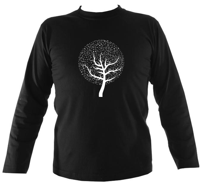 Musical Notes Tree Mens Long Sleeve Shirt - Long Sleeved Shirt - Black - Mudchutney