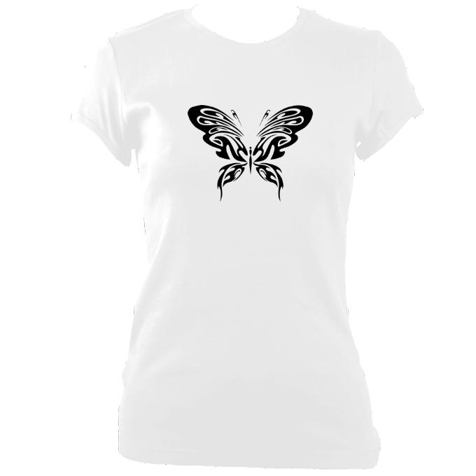 update alt-text with template Ladies Ornate Butterfly Design Fitted T-shirt - T-shirt - White - Mudchutney