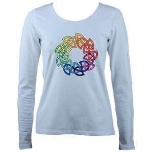 Women's rainbow celtic knot long sleeve shirt in pale blue
