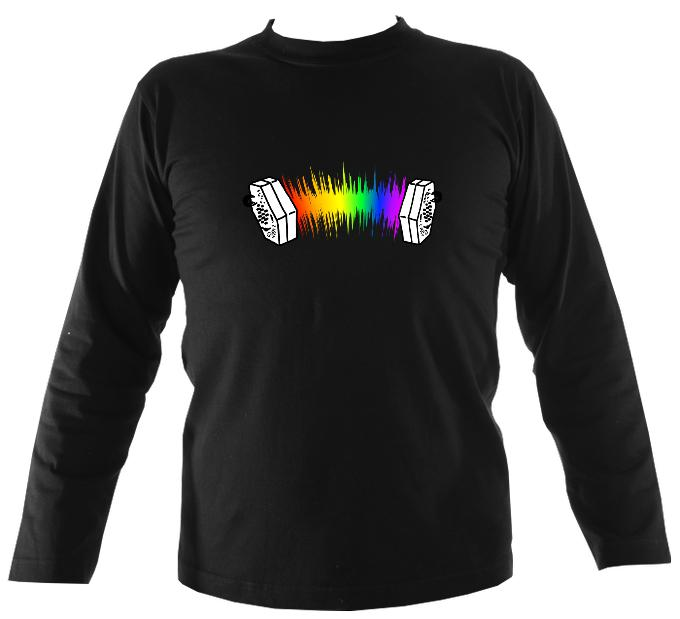 Rainbow Sound Wave Concertina Mens Long Sleeve Shirt - Long Sleeved Shirt - Black - Mudchutney