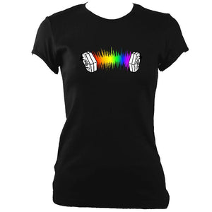 update alt-text with template Rainbow Sound Wave Concertina Ladies Fitted T-shirt - T-shirt - Black - Mudchutney