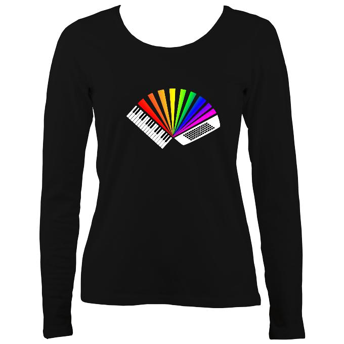 Rainbow Piano Accordion Ladies Long Sleeve Shirt - Long Sleeved Shirt - Black - Mudchutney