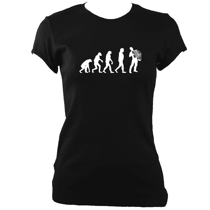 update alt-text with template Evolution of Accordion Players Ladies Fitted T-shirt - T-shirt - Black - Mudchutney