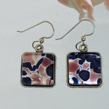 Murano Square Cobalt Adventurina Earrings