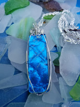 Aqua Cobalt Murano Pendant with Silverplated Chain